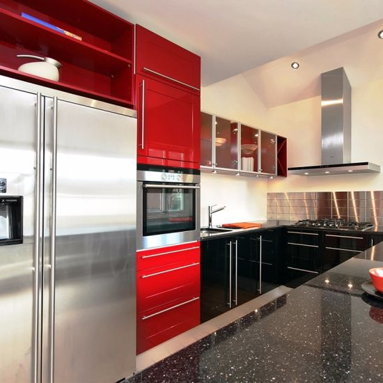 China Hot Sale Modern Discount Red Kitchen Cabinets