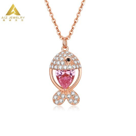 Wholesale Custom Jewelry Simple Design Jewellery Pink Stone Animal Fish Necklace with Zircon for Girls
