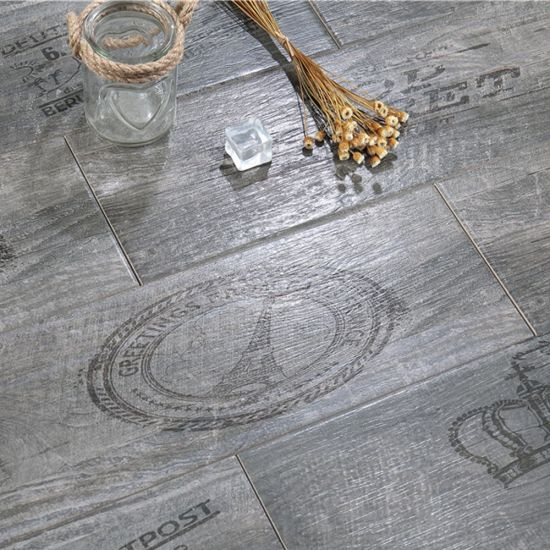 Sweden Style Building Material Anti-Microbial Dark Grey Wood Tile