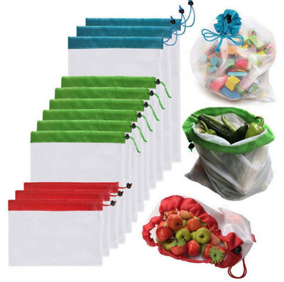 Natural Eco-Friendly Home Drawstring Recoverable Produce Mesh Bag for Fruits and Vegetables