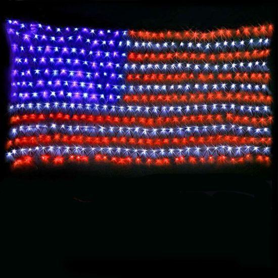 Waterproof American LED Flag Net Light for Garden Decoration