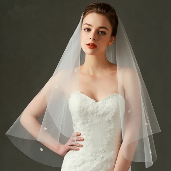 Hot Sale Tulle 3D Flowers Wedding Bridal Veil
