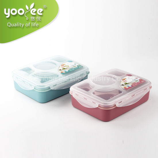 Multi Compartment PP Plastic Lunch Box Safety Material BPA Free for School Use
