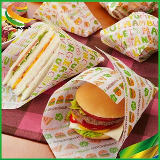 Custom Printed Disposable Good Quality Printed Greasepro of Packing Paper for Hamburger/Sandwich/Rice/Vegetable Roll