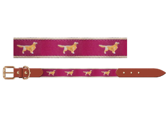 China Dog Pattern Knitted Belt Dog Collar With Real Leather Pet