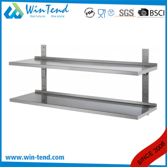 Stainless Steel Kitchen Adjustable Floating Wall Shelf with Backsplash