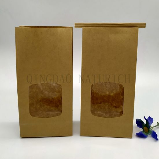 Flat Bottom Cookies Kraft Paper Bags with Window/Compostable Laminated Pouch/Printed PLA Pouch/Printed PLA Bag/Printed Compostable Bag