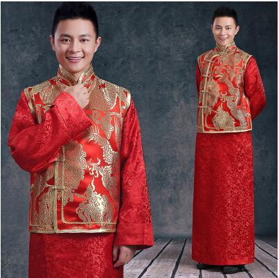 The Groom Wedding Dress Style, Tang Suit, Longfeng Binding, Costume, Red