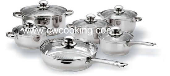 12pcs Stainless Steel Cookware Set With Ss Hollow Handle