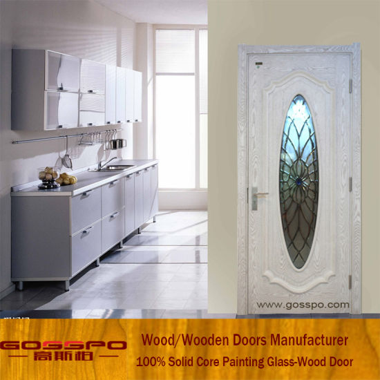 China White Paint Tempered Gl Wooden Interior Room Door Gsp3