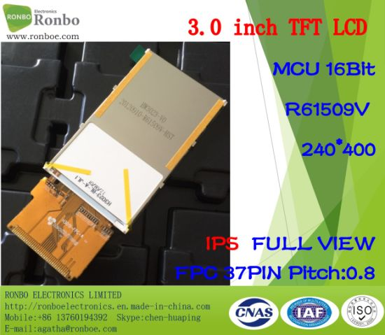 "3.0"" IPS 240*400 MCU 16bit 37pin ODM Full View TFT LCD Resistive Touch Screen pictures & photos"