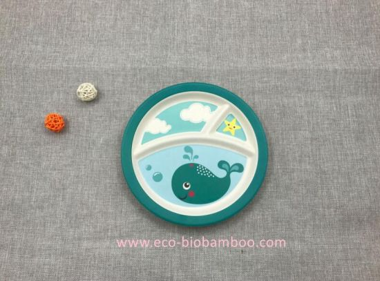 FDA Approved Natural Bamboo Fiber Biodegradable Kids Plate (YK-P3022) pictures & photos