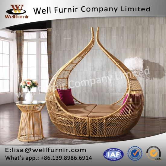 China Well Furnir Pe Wicker Round Luxury Outdoor Sofa Bed T 080