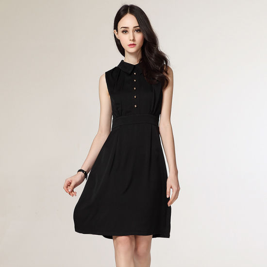 China Latest Office Wear Designs Sleeveless Formal Straight Dress