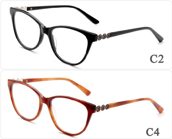 5577762159 Online China 2018 Ready Stock Goods Fashion Style Cat Eye Acetate Optical  Eyeglasses Eyewear Glasses Frames with Metal Decoration