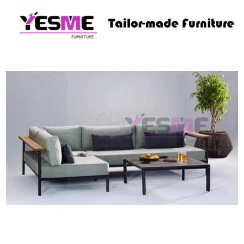 Modern Aluminum Sofa Lounge Sets Leisure Chair Chinese Patio Garden Hotel Beach Bar Cafe Restraurant Gazebo Outdoor Furniture Teak Wood Armrest