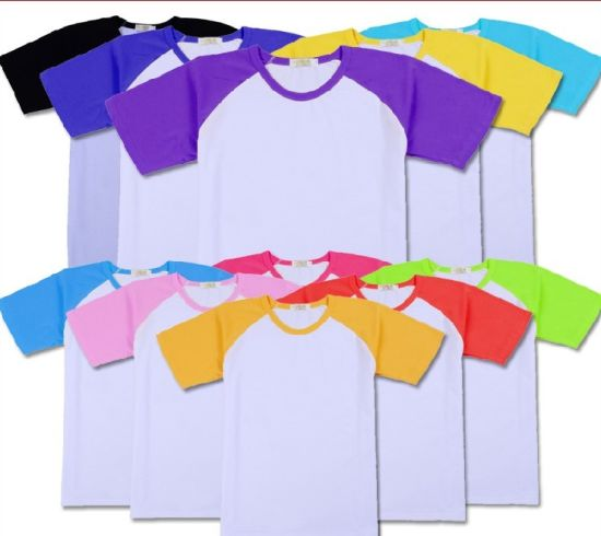 Fashion Contrast Custom Cotton Plain Advertising T Shirt