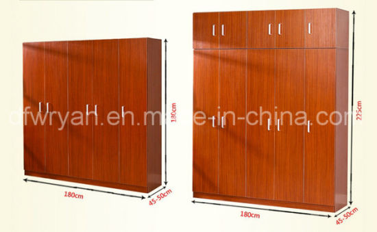 Classic Design Particle Board Teak Color Melamined Wardrobe pictures & photos
