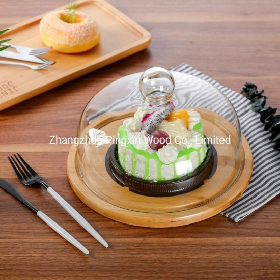 1X Round Wood Tray Meal Fruit Bread Snack Serving Tray Salad Bowl Dish Platter