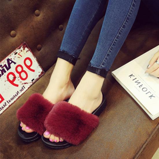 8167c6afe008b Custom Faux Fur Slide Sandal, Ladies Fur Slide Slippers Sandals Fashion Fox  Fur Slippers Slides Women