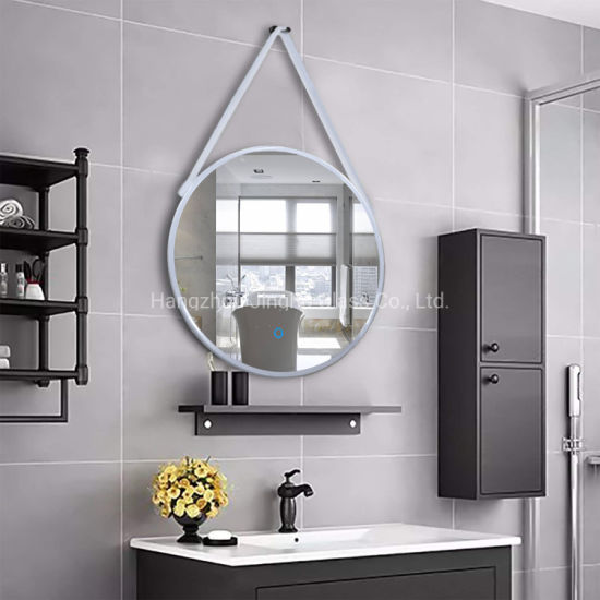 Wall Mounted Black Color Frame Bathroom, Rope Hanging Vanity Mirror