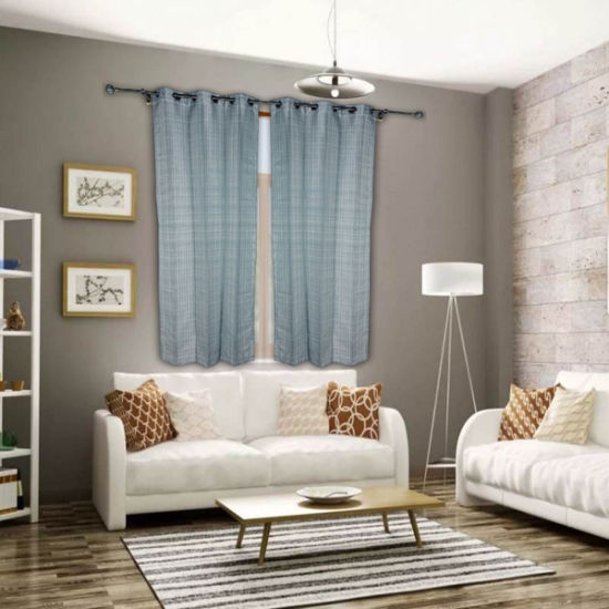 Curtains 8 Grommets Yarn Dye Gien Check Eyelet Curtain for Bedroom Living Room, 54X84 Inches