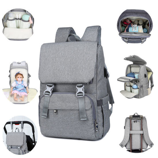Mummy Bag Waterproof Mother Bag USB Travel Baby Diaper Bag pictures & photos