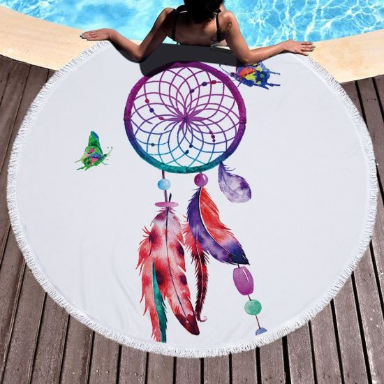 2019 New Low MOQ China Textile Factory Supply Microfiber Bath Towel Multicolor Round Beach Towels