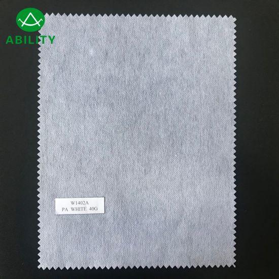 W1402A White Regular Nylon Polyester Non Woven interlining for Garments