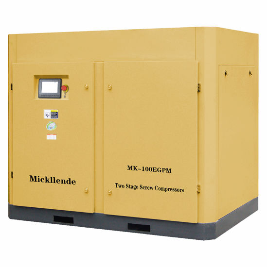 Mickllende 100HP 75kw High Pressure Inverter Variable Speed Driven Industrial AC/DC Screw Type Machine Oil Two Stage Rotary Screw Air Compressors for Industry