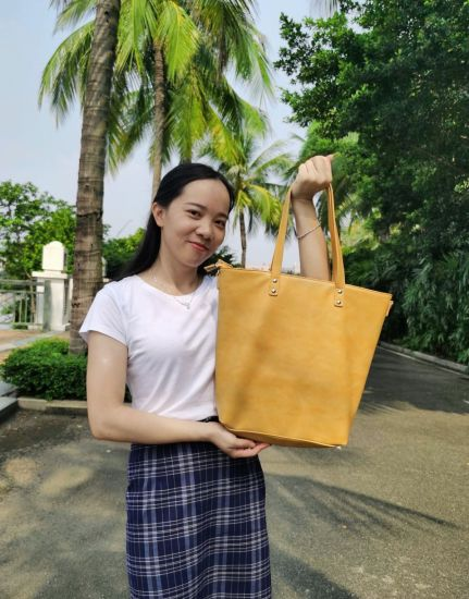Fashion Women Female Office Lady Working Daily Commute Anniversary Gift Oversized Practical Shopping Grocery Travel Crossbody Shoulder PU Leather Tote Bag