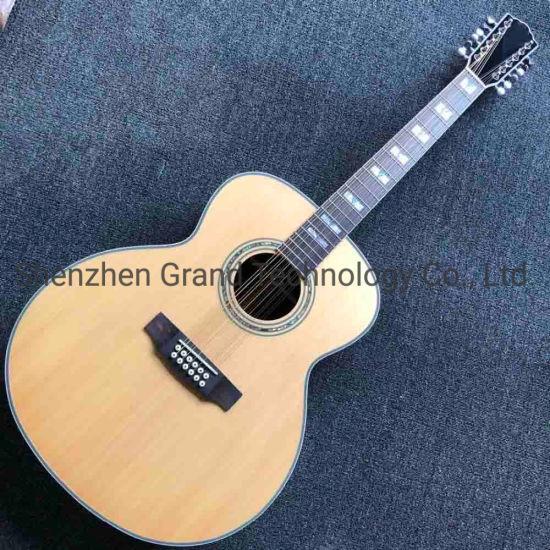 Custom Solid Top Jumbo 6 Strings Grand Acoustic Guitar Glossy Natural Finish Guitar