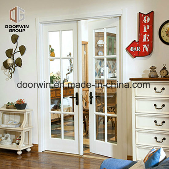 China French Hinged Entrance Door Decorative Glass With Grille