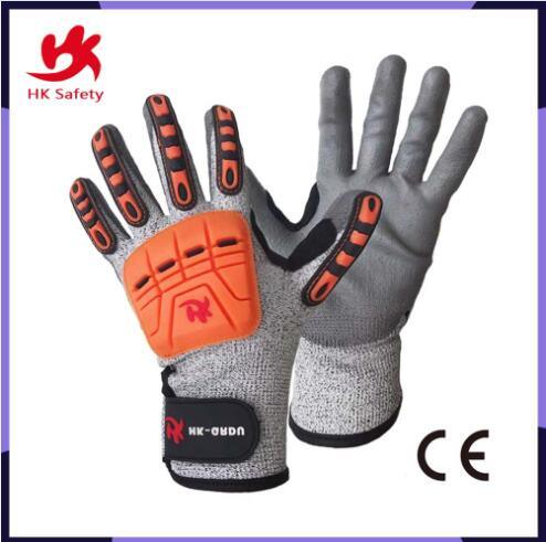TPR Anti Impact Safety Nitrile Resistant Bamboo Fiber Nitrile Coated Work Industrial Gloves