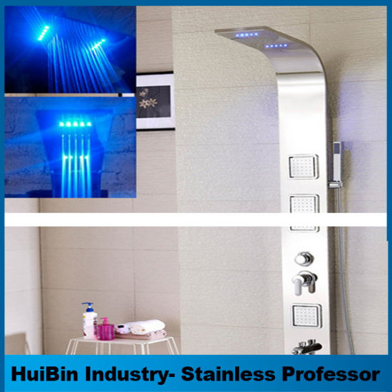 Latest 5 Function LED Rainfall Waterfall Stainless Steel Shower Panel Tower  System