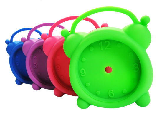 Promotional Logo Printed Candy Color Silicone Desk Alarm Clock pictures & photos