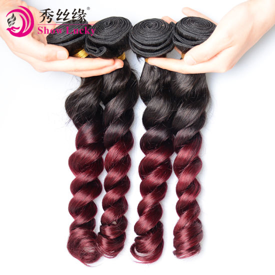 Customized Ombre 1b/99j Hair Weave Unprocessed Double Drawn Loose Wave Remy Vietnamese Human Hair Weaving