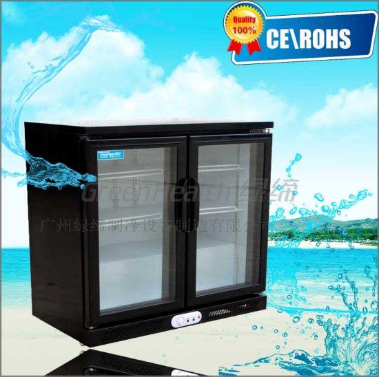 Black Color Swing Door Drinks Display Cooler For Counter Top