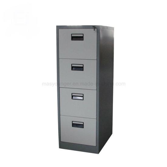 Wholesale Steel Office Furniture 4 Drawer Anti-Theft Metal File Document Storage Cabinet Key Lock