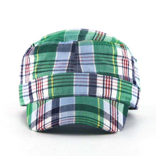 7094c256ce8 China Fashion Check Pattern Military Hats - China Fashion Cap