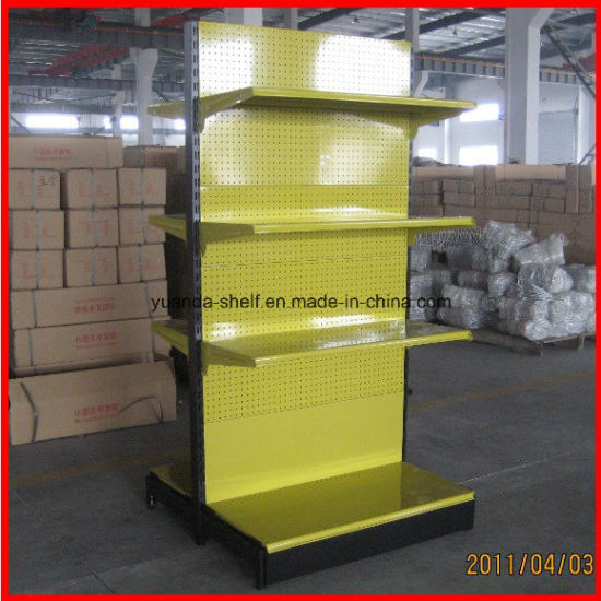 Single Side Wall Unit Supermarket Gondola Shelf Display Rack with Perforated Back Panel pictures & photos