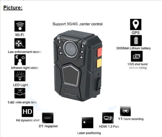 Waterproof Full HD 1080P Police Body CCTV Camera with WiFi Remote Control pictures & photos