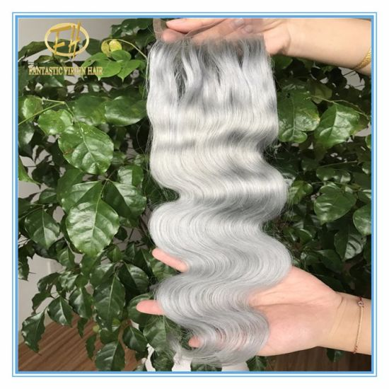 High Quality Large Stock Grey Color Body Wave 4*4 Lace Closure with Factory Peice Clc-004 pictures & photos