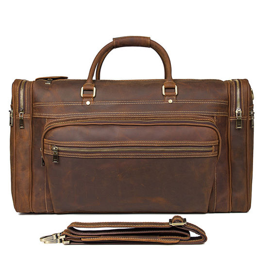 Factory Price Large Capacity Retro Brown Duffle Bag Crazy Horse Leather Travel Bag pictures & photos
