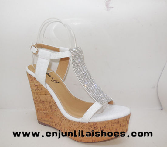 Wooden Cork Shoes with High Quality Diamond