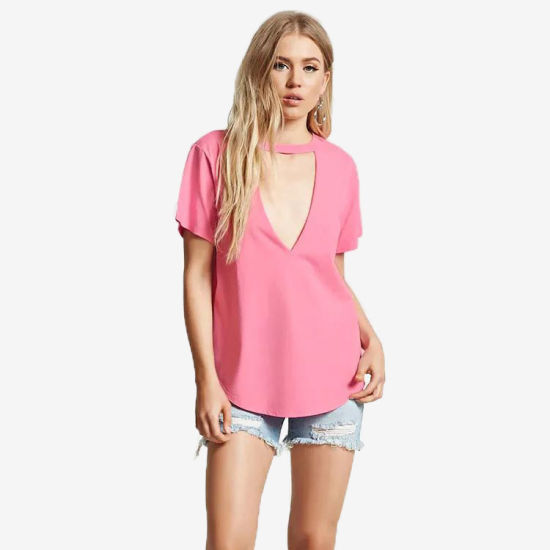 China Manufacturer Custom Plain Fashion V-Neck T-Shirt