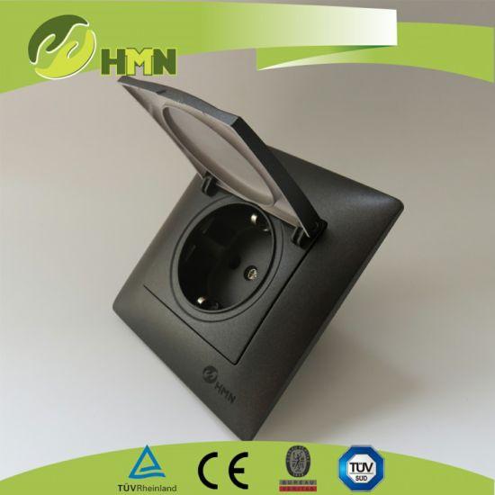 TUV Certified Black Dust Cover Schuko Socket