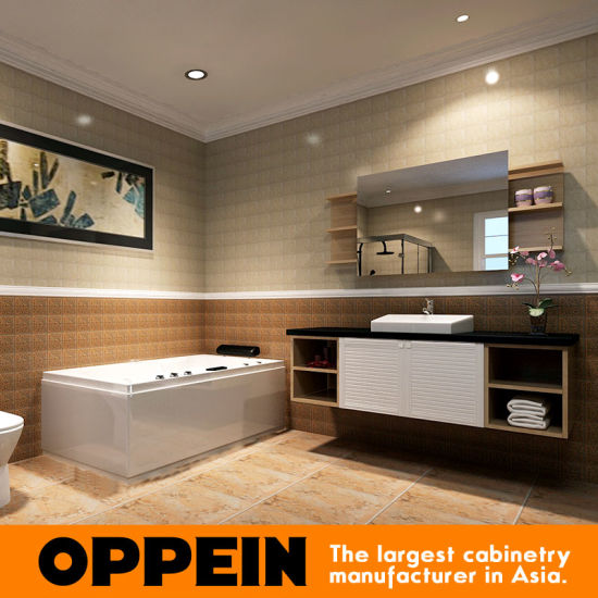 oppein modern louvered design pvc wooden bathroom cabinets op15 072a