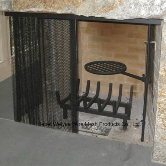 China Fireplace Metal Curtain Screen With 1 4 Mesh Black Color