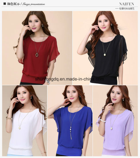 3e39108fb901d ... China New Women Tops Fashion Women Summer Chiffon Blouse Plus Size